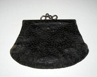 Vintage Worn Black Leather Change Purse for Altering