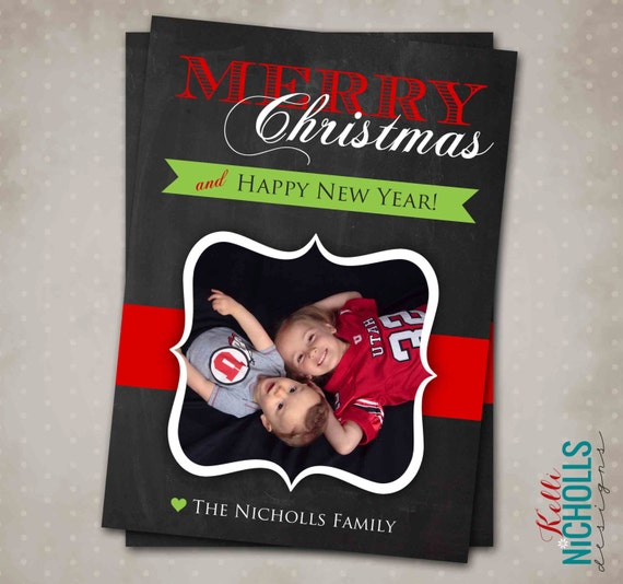 Custom Chalkboard Christmas Card, Printable Holiday Greeting Card