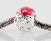 Judaica Jewelry Jewish Bead Jerusalem View & Chai/ Hot Pink Enamel Sterling Silver/Large Hole Bead For Bracelet/Bat Mitzvah Gift For Her