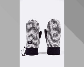 Herringbone wool and black leather mittens