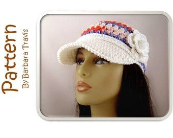 Crochet Pattern Baseball Cap with Flower