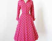 vintage 1950's dress ...spring has sprung FUSCHIA POLKADOT turned cuffs full skirt with huge buttons swing pin-up shirtwaist dress l xl