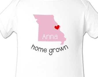 Missouri home state shirt - personalized childrens home state Missouri Tshirt or bodysuit