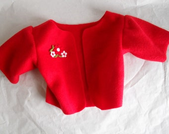 Red Fleece Jacket Coat HandMade fits Build a Bear Hello Kitty with Applique