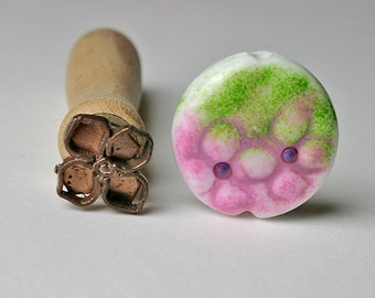 Hydrangea Flower lampwork bead stamp
