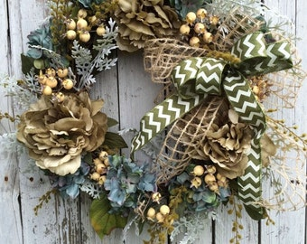 Blue Wreath for Door, Chevron Home Decor, Blue and Green Wreath for Door, Everyday Wreath
