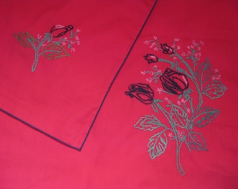 "Hand-Embroidered Tablecloth with Roses Vintage 57"" X 57"""