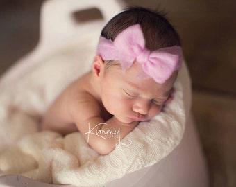 Newborn Girl Baby Bow, Bitty Band, Pale Pink