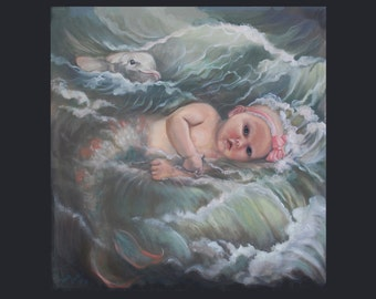 Dolphin and Baby Mermaid in a Wave . . .by Vanda Lavar