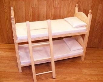 """Stackable Doll Bunk Bed Mattresses Pillows and Ladder or 2 Single Beds Doll Bed for 18"""" Dolls American Made Gift for Girl Eighteen Inch Doll"""