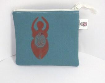 Goddess Purse - Goddess Painted bag - handmade Goddess Pouch - Goddess Zip Pouch -  Linen Bag
