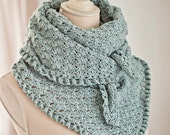 Instant download - Crochet PATTERN (pdf file) - Fan and Ruffle Kerchief and Shawl (instructions for both items are included)