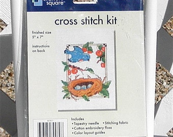 Bluebirds Nest Counted Cross Stitch Embroidery Kit by Crafters Square