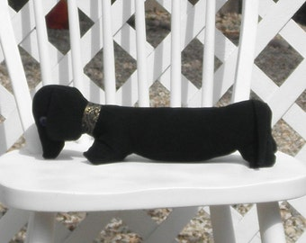 Dachshund Black Suede Cloth with Vintage Mother of Pearl Button Eyes Wiener Dog Adult Toy Pillow OOAK