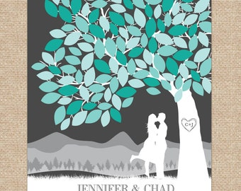Unique Wedding Guestbook, wedding signature tree // with Personalized Skyline & Silhouette // 175+ Signature Guestbook // W-T05-1PS HH3