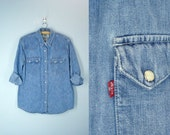 1980s Levis Denim Pearl Snap Shirt / Levi Denim Blouse / Slouchy Shirt / Size Large