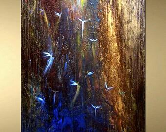 Angels fine art limited edition giclee print hand embellished on canvas metallic acrylic painting Carol Lee Art Studio