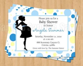 Mod Mom Blue Polka Dot Sweet Baby Boy Shower Invitations JPEG Cute Simply Adorable