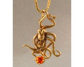 Gold Octopus Necklace Octopus Charm with Fire Opal 14k Gold Necklace Octopus Jewelry Tentacle Jewelry Tentacle Necklace 14k gold octopus