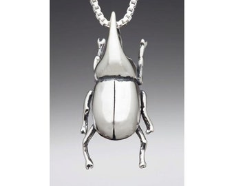 Rhinoceros Beetle Necklace Rhinoceros Beetle Charm Beetle Pendant - Insect Jewelry Insect Charm Insect Necklace - Bug Jewelry Bug Charm