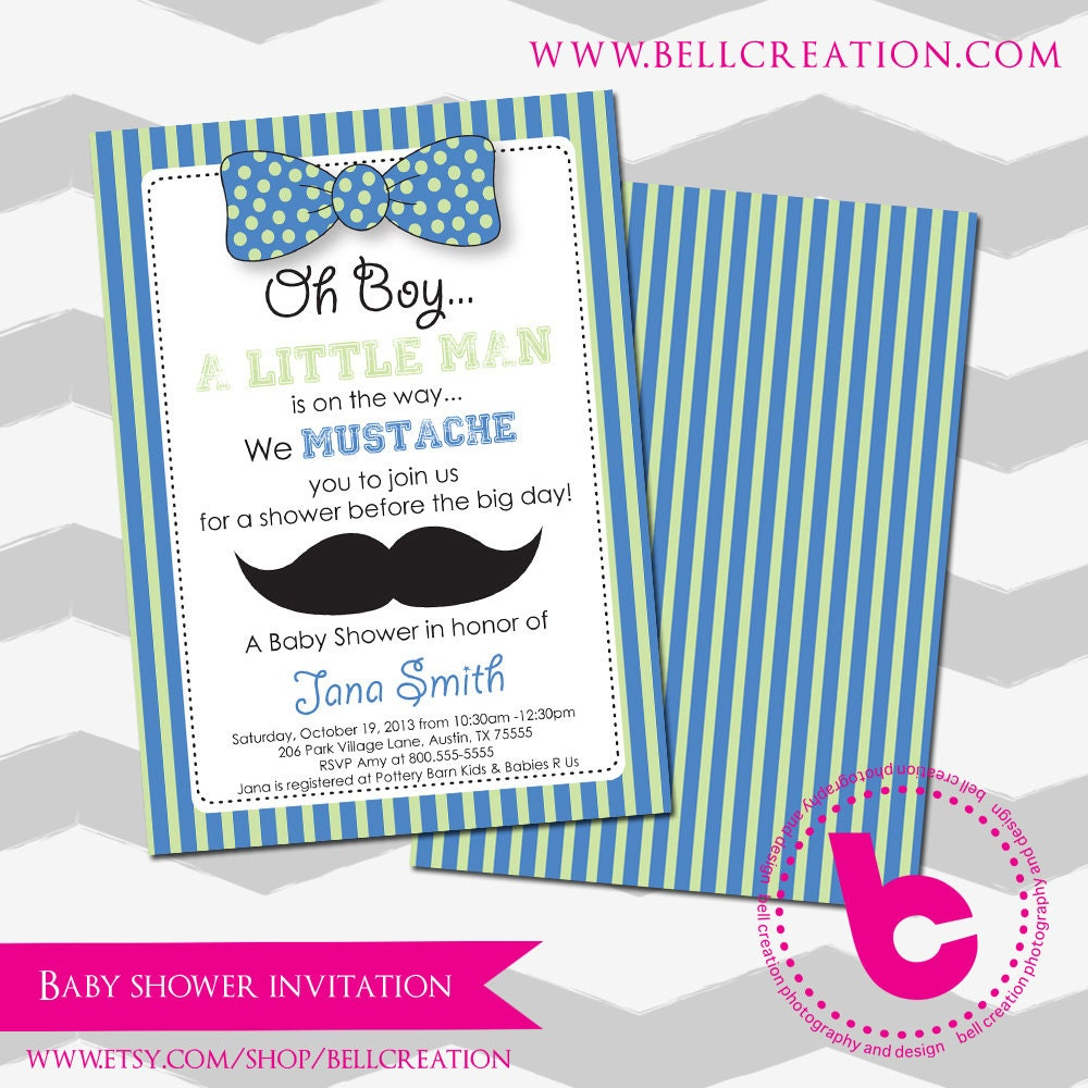Mustache Baby Shower Invitation Template