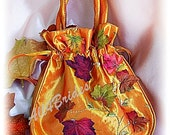 Fall leaves wedding bridal drawstring bag - wedding money dance bag - burnt orange bridal accessories