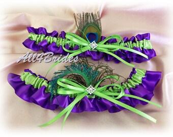 Peacock weddings regency purple and green bridal garters, peacock feather bridal accessories