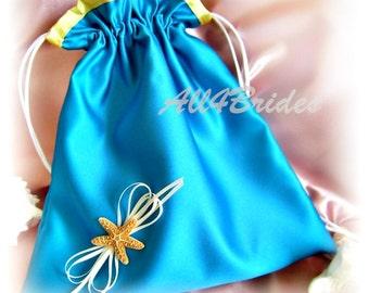 Starfish Beach Wedding  Bridal Drawstring Bag, Wedding Dance Bag, Turquoise and Yellow Wedding Colors, Lingerie Bag, Real Starfish