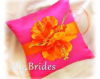 Wedding pillow, Hibiscus flower ring bearer pillow, hot pink and orange wedding ring cushion