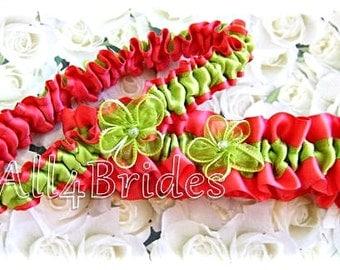 Guava  and limegreen weddings bridal garter set | satin garters