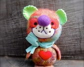 Needle Felted One of a Kind Rainbow Wool Teddy Bear