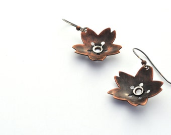 Mixed Metal Earrings, Copper Flower Earrings, Botanical Earrings, Copper Jewelry, Boho Jewelry, Nature Jewelry, Cherry Blossom Earrings