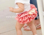 Handmade Coral Classic Style Sassy Pants Ruffle Bloomer Diaper Cover