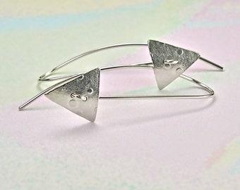Sterling Drop Earrings, Modern Abstract Silver Drops, Geometric Triangle Sterling Silver Drop Earrings