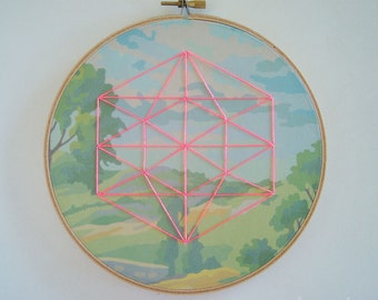 Embroidered Geometric on Field Paint by Number Fabric Hoop