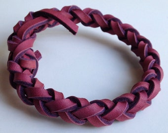 Pink Leather Braid Bangle Bracelet