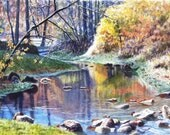Autumn On Hamer Creek Watercolor Painting Print by Cathy Hillegas,6.5x10 watercolor landscape, yellow, orange, green, blue, purple, brown