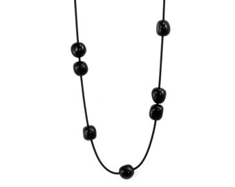 long black necklace resin beads, rubber jewelry