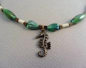 Seahorse Sea Horse Coral Green Glass Necklace Summer Beach Elegant OOAK