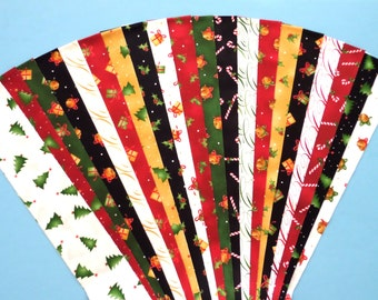 Christmas Xmas Traditional Jelly Roll Quilt Strip Pack Cotton Quilting Fabric Die Cut No Dups (sku JR120-TRXM)