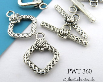 20mm Square Pewter Toggle Clasp with Sunflower Antiqued Silver (PWT 360) 6 sets BlueEchoBeads