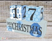 Christmas Advent Calendar, Christmas Count Down Wooden Blocks Blue Bauble Design