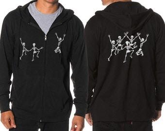 Dancing Skeletons Hoodie, Unisex hoodie, Skeletons Hoodie, Black JERSEY Knit Hoodie, Cool Art Hoodie