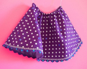 Toddler girls twirl skirt CIRCUS handmade with a purple polka dots fabric with embroidered sequins - Size 2 years