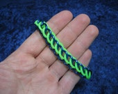 Seahawks Neon Green and Blue Half-Persian 3-in-1 Chainmaille Stretchy Bracelet - UV Reactive