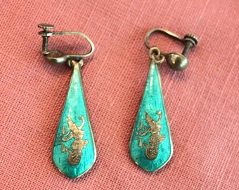 Vintage silver and enameled siamese earrings