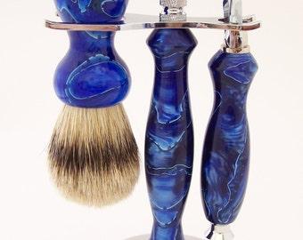 Blue Swirl Acrylic 24mm Silvertip Badger Shaving Brush and Fusion Razor Gift Set (Handmade in USA)
