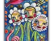 Garden Party, Mixed Media Folk Art Original 10 X 12 wood panel, modern contemporary, primitive raw folk art