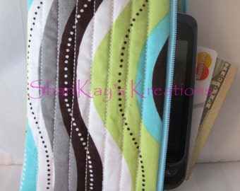 CLEARANCE - Large Size 4x7 Fabric Iphone Cell Phone Case - Zippered Case - Cell Phone Pouch