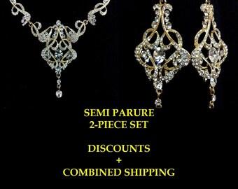Art Deco Gold Bridal Jewelry Set, Statement Bridal Necklace, Chandelier Bridal Earrings, Swarovski Crystal Wedding Jewelry, CARMEN